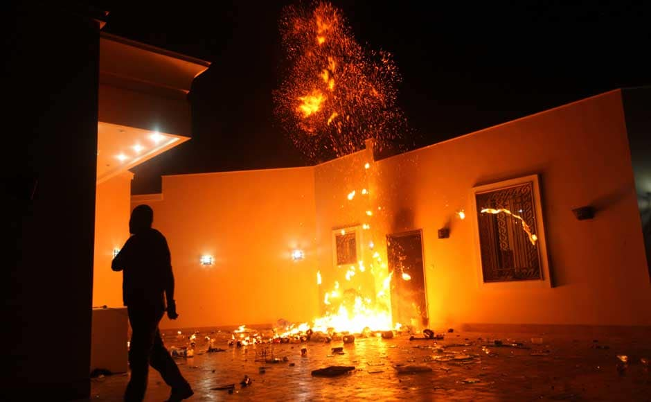 <br />The US Consulate in Benghazi is seen in flames during a protest by an armed group said to have been protesting a film being produced in the United States on 11 September 2012. US Ambassador to Libya J Christopher Stevens and three other staff members perished in the rocket attack, Libyan security sources said on Wednesday. Esam Al-Fetori/Reuters
