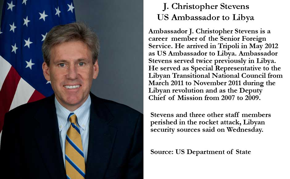 US Ambassador to Libya J Christopher Stevens was killed in a rocket attack in the Libyan city of Benghazi. Image source US Embassy to Libya