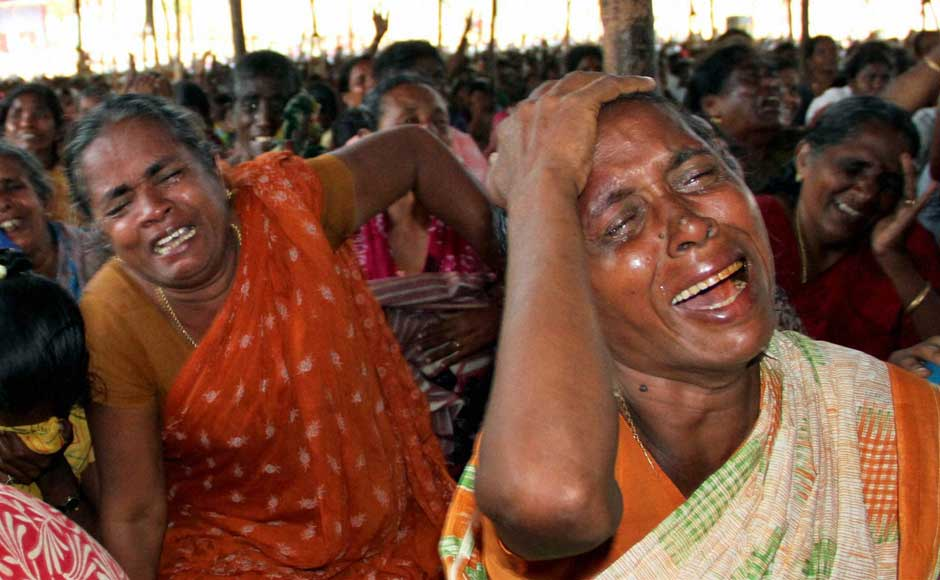 <br />Women cry during a protest against the Kudankulam Atomic Power Plant near the site of the project on 11 September 2012. PTI