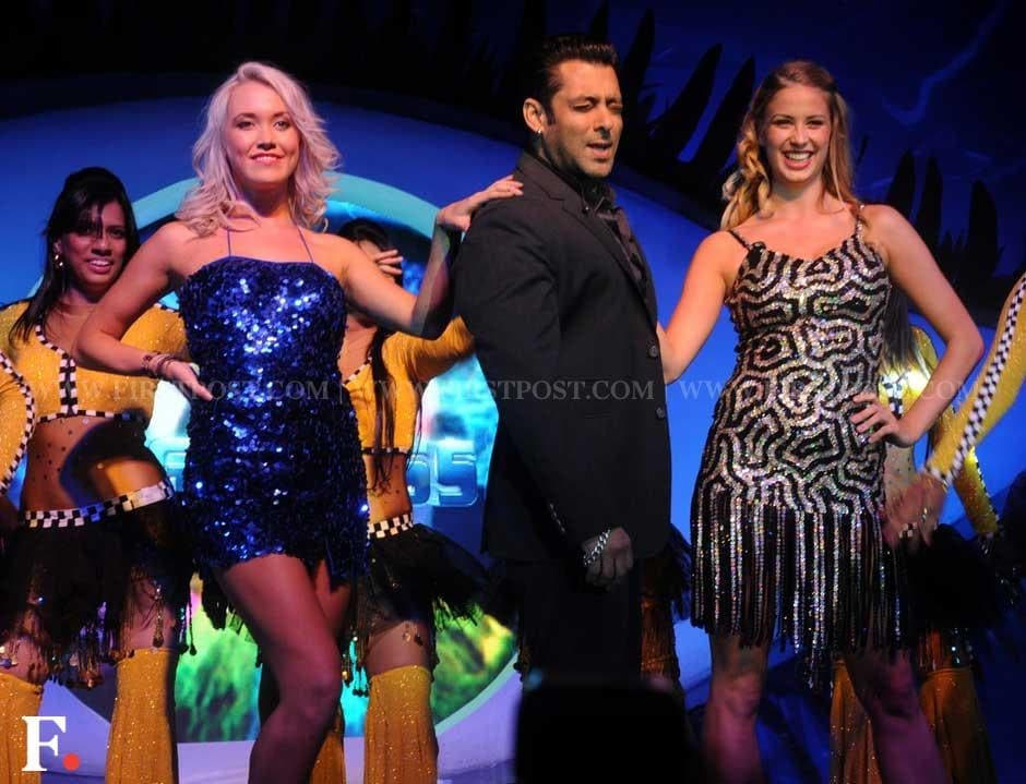 Salman Khan flaunts his signature move at the launch of Bigg Boss 6. Sachin Gokhale/Firstpost