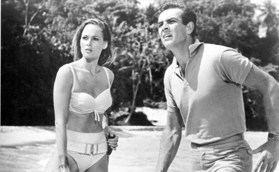 Bond girl Ursula Andress and Sean Connery in a scene from 'Dr. No' directed by Terence Young in 1963. Getty Images
