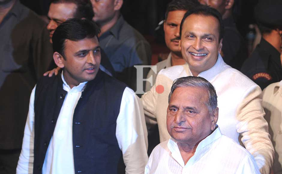 Akhilesh Yadav, Mulayam Singh Yadav and Anil Ambani at the party. Sachin Gokhale/Firstpost