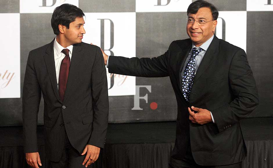 Lakshmi Mittal and son at the party. Sachin Gokhale/Firstpost