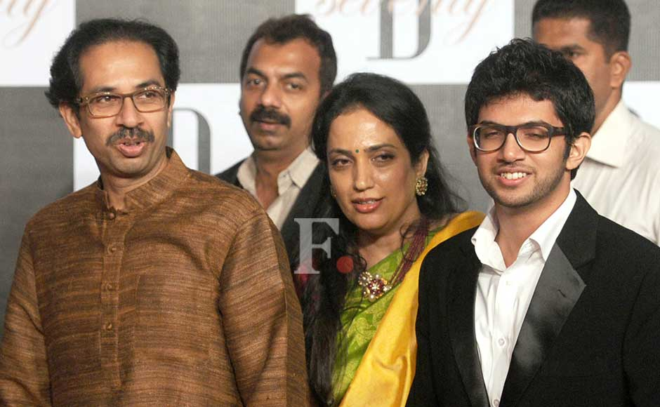 Udhav, Rashmi and Aditya Thackeray at the party. Sachin Gokhale/Firstpost