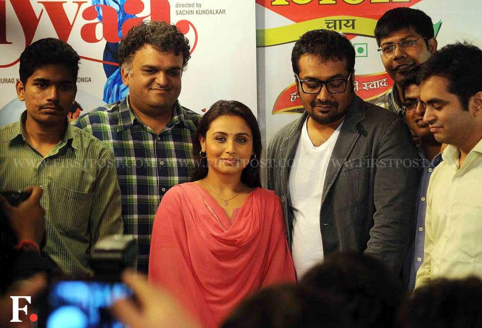 Rani Mukherji and Anurag Kashyap pose with others at a special chaha poha event to promote her film Aiyaa. Sachin Gokhale/Firstpost