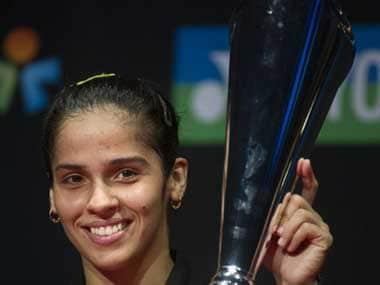Saina after winning in Denmark. AFP