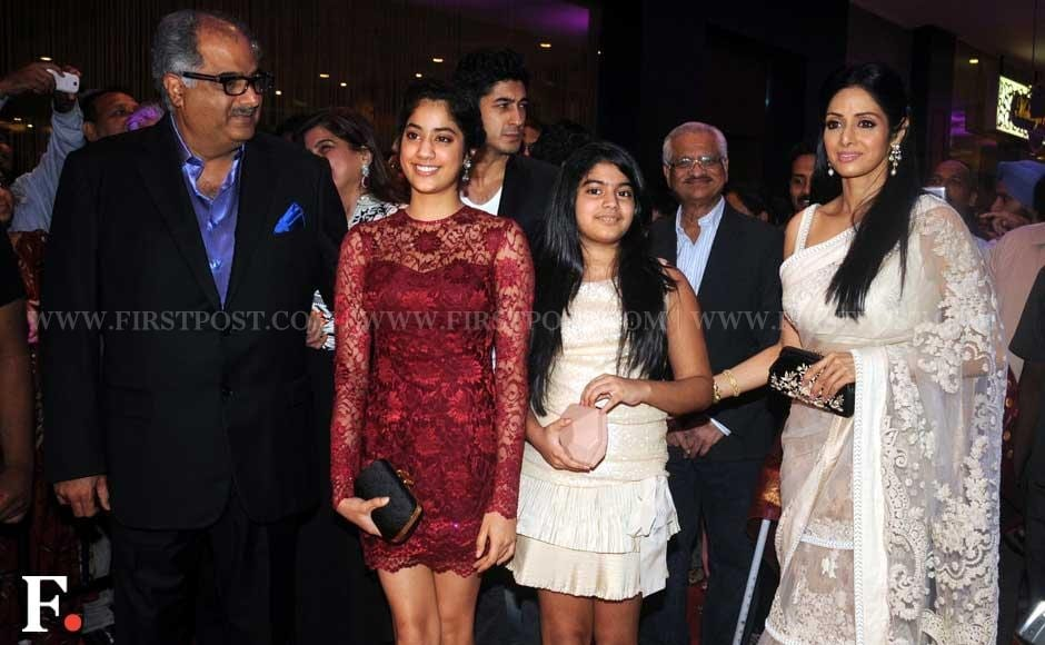 Boney Kapoor with daughters Jhanvi and Kushi and wife Sridevi at the premiere of English Vinglish. Sachin Gokhale/Firstpost