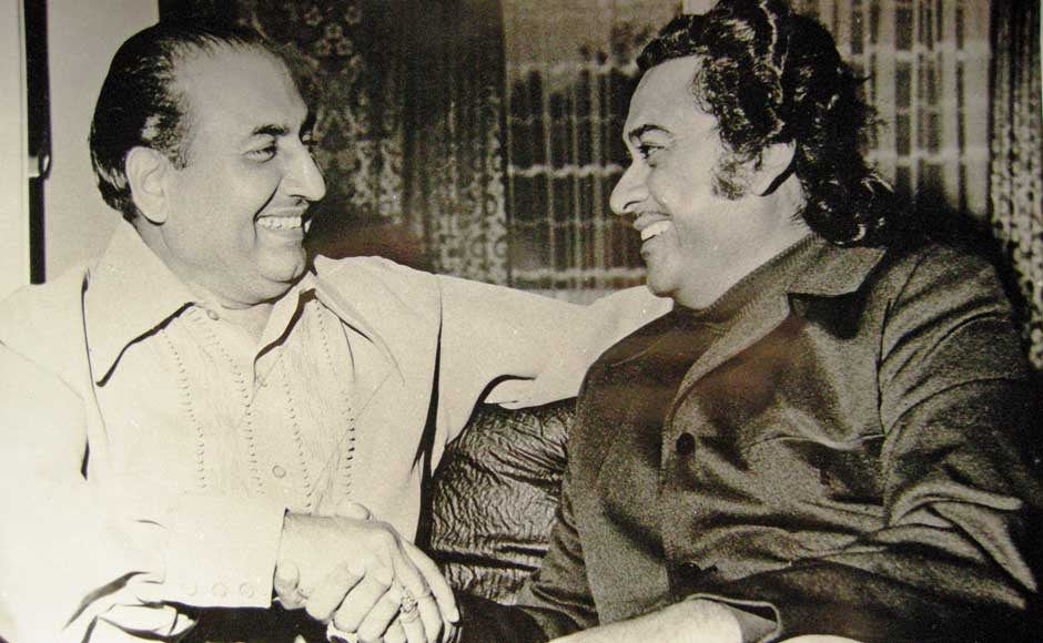Considered arch-rivals by the public, Mohd Rafi appreciated and encouraged Kishore Kumar extensively. This picture was taken when Kishore Kumar visited Rafi at his son's Khalid's place in London. Image courtesy: Yasmin Rafi.