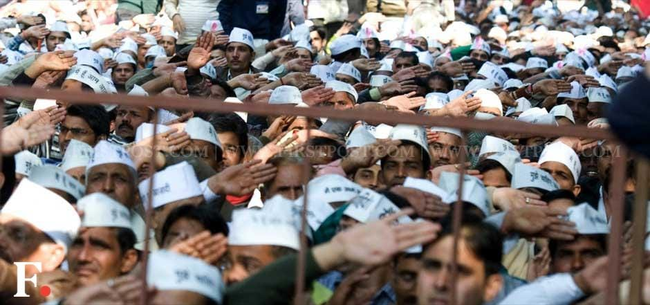 Supporters at the formal launch of the Aam Aadmi Party at Jantar Mantar. Naresh Sharma/ Firstpost