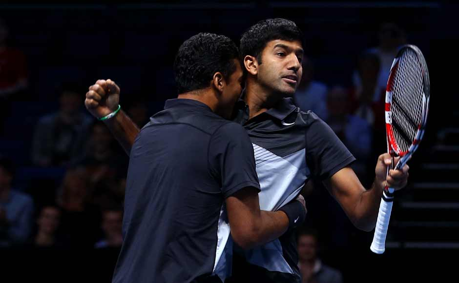 Mahesh Bhupathi and Rohan Bopanna exult after their thrilling win over Leander Paes-Radek Stepanek at the ATP World Tour. The all-Indian pair have made it to the finals. Getty Images