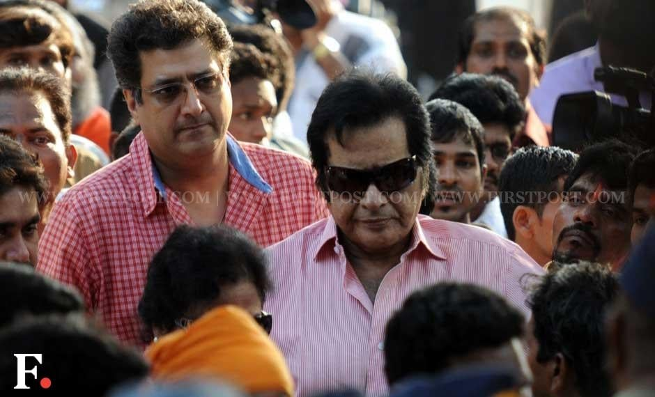 Manoj Kumar and his son Kunal Goswami at Matoshree to meet ailing Shiv Sena chief Bal Thackeray. Sachin Gokhale/ Firstpost
