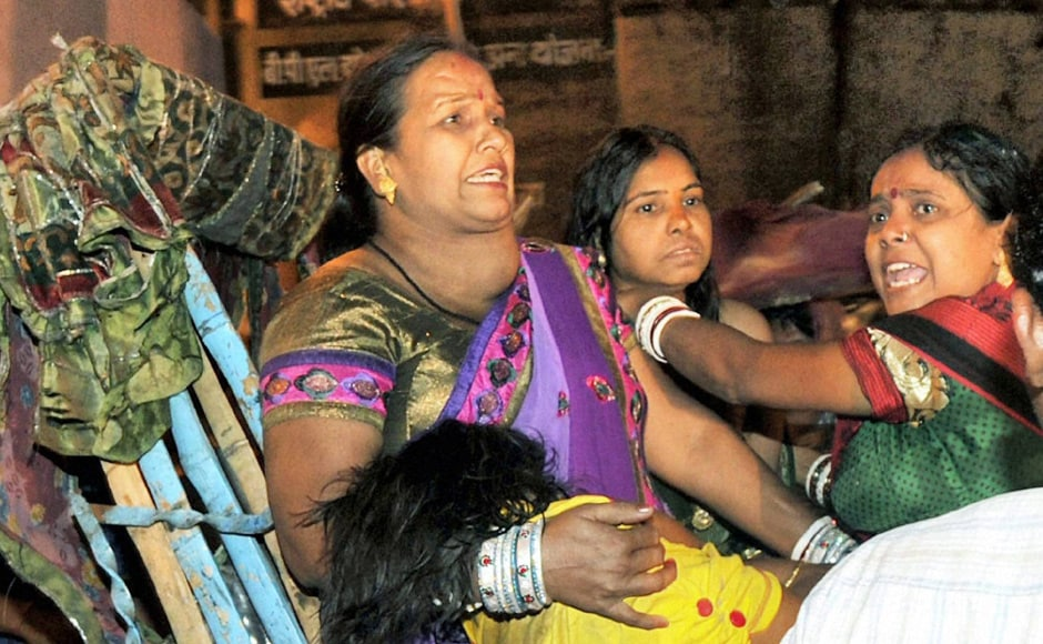 Chhath devotees mourn the death of their relatives in Patna on Monday. PTI