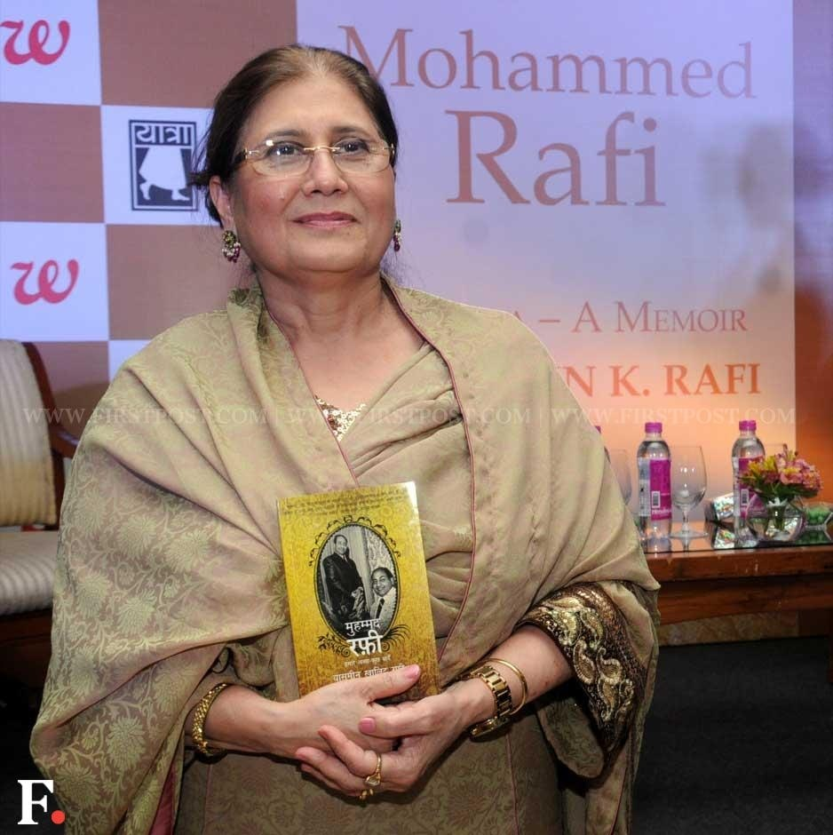 "Mohammad Rafi's daughter-in-law Yasmin Rafi with her book on him, titled ""Mohammed Rafi My Abba - A Memoir"". Sachin Gokhale/Firstpost"
