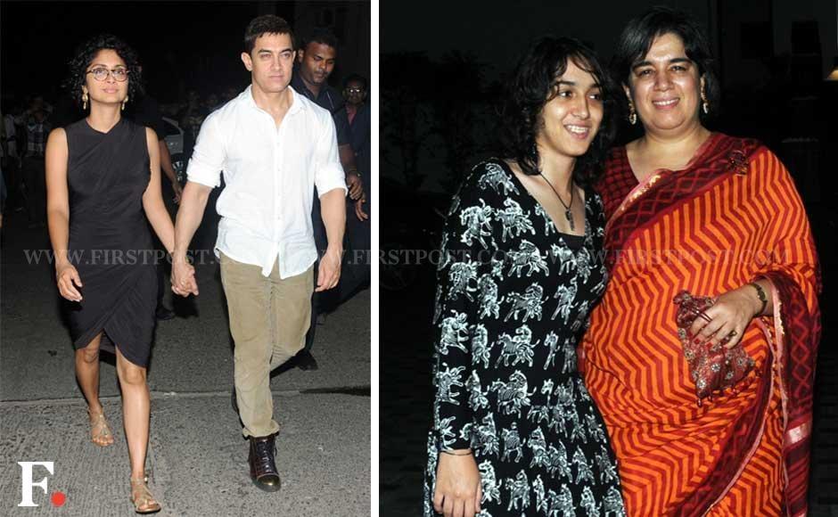 (L) Kiran Rao and Aamir Khan. (R) Aamir Khan's daughter Ira and his ex-wife Reena Dutta. Sachin Gokhale/Firstpost