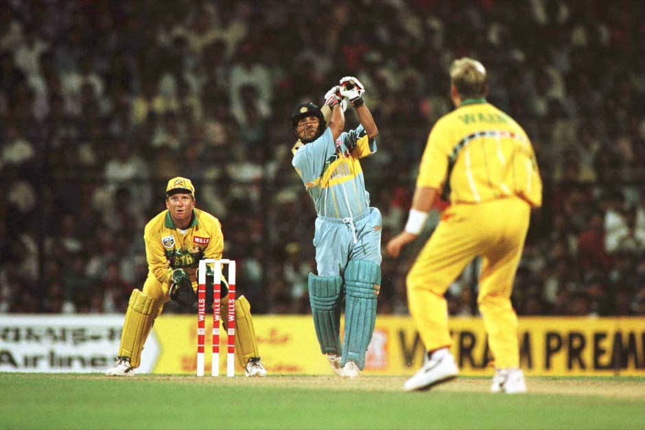 Sachin Tendulkar of India plays a shot off the bowling of Shane Warne of Australia during the Cricket World Cup match between Australia and India in Bombay, India. Shaun Botterill/Allsport
