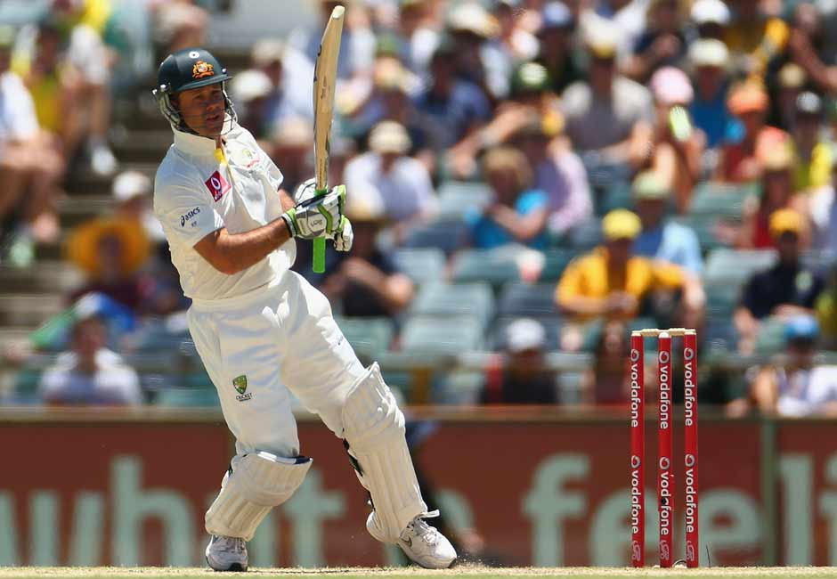 Ponting got off the mark with a crunching pull shot. Typical, eh? Getty Images