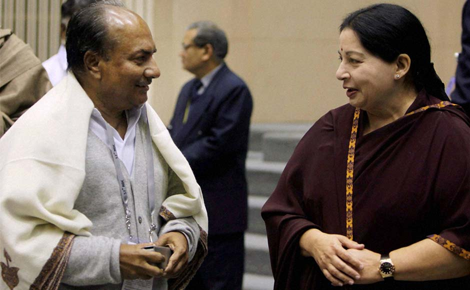 Union Defence Minister AK Antony and Tamil Nadu CM J Jayalalithaa at the 57th National Development Council (NDC) meeting in New Delhi.PTI