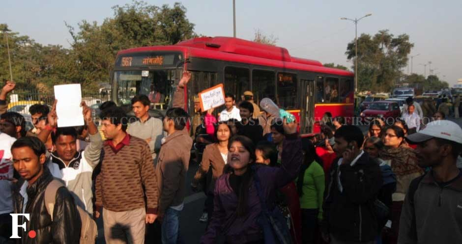 Delhi witnessed a series of protests at various spots, as angry people gathered on the streets to voice their anger against the brutal gangrape. Naresh Sharma/Firstpost
