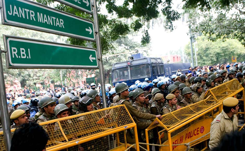 The Rapid Action Force was called in to control the crowd. However the police didnot resort to lathi-charge. Naresh Sharma/Firstpost