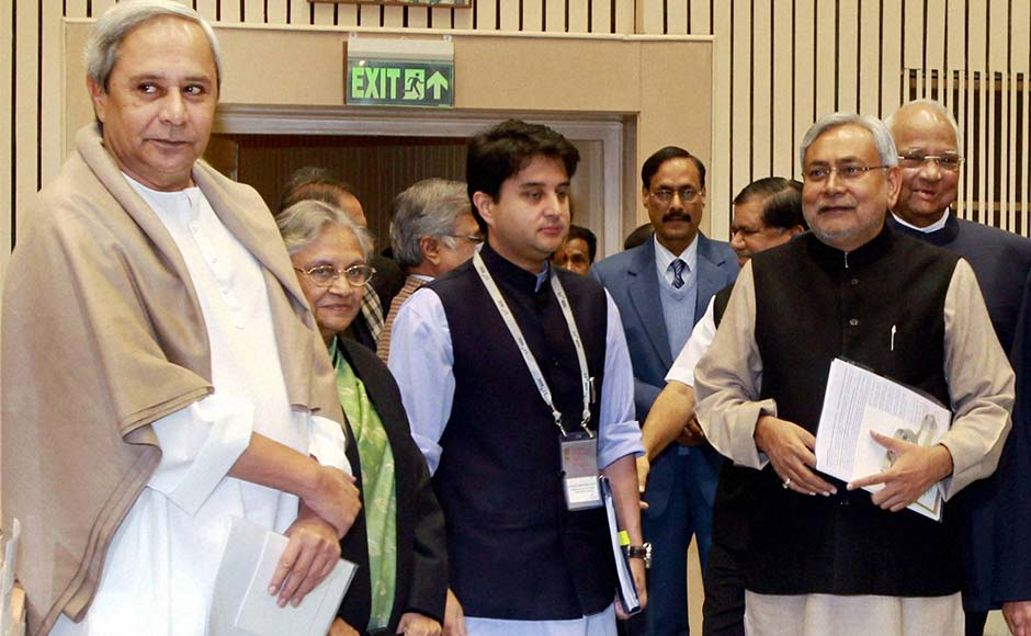 Odisha Chief Minister Naveen Patnaik, Delhi CM Sheila Dikshit, MoS Jyotiraditya Scindia and Bihar CM Nitish Kumar at the 57th National Development Council (NDC) meeting in New Delhi.PTI