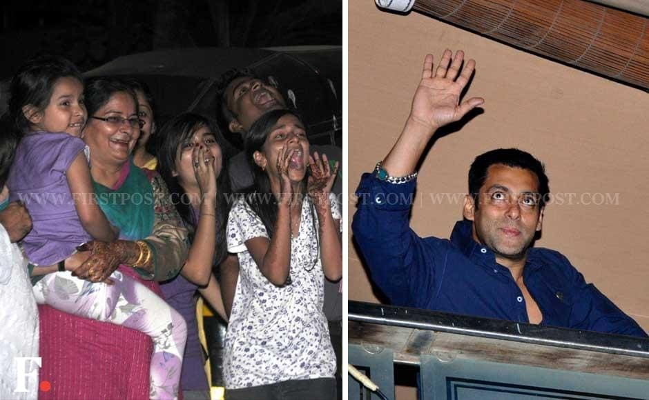 Salman Khan waves out from his balcony to his screaming fans. Sachin Gokhale/Firstpost