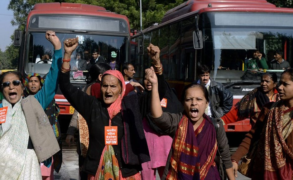 National Federation of Indian Women activists shout slogans during a protest in New Delhi on Tuesday. AFP