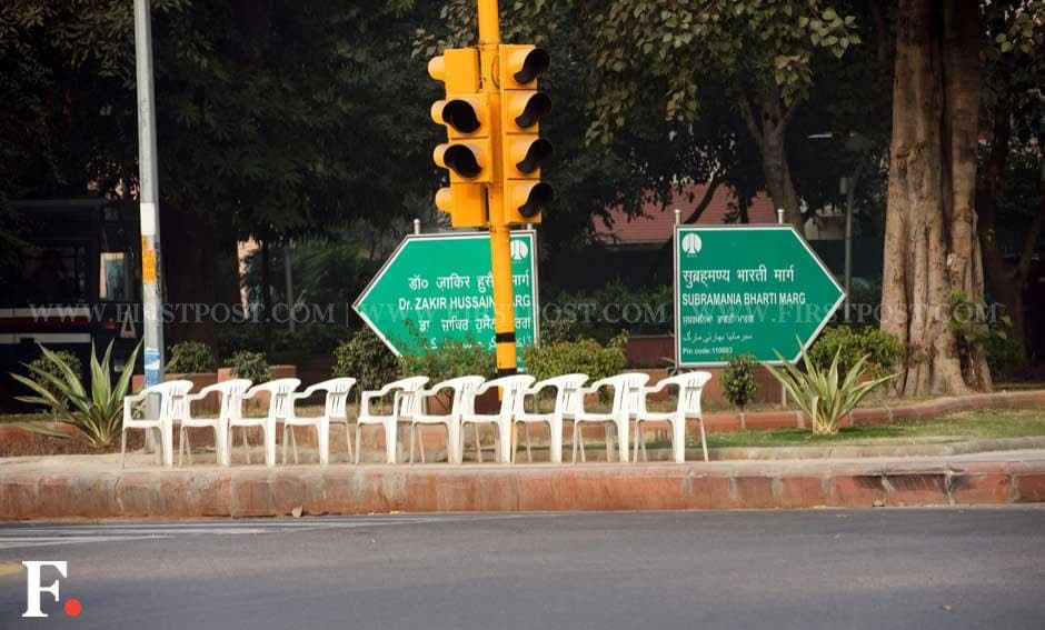 Empty chairs meant for police personnel near the site of the protest. Naresh Sharma/Firstpost