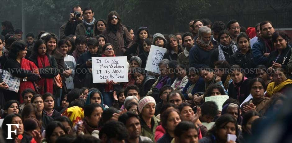Protesters near India Gate seeking stronger laws against sexual assault. Naresh Sharma/Firstpost