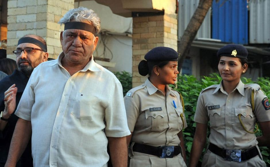 Actor Om Puri during the peaceful protests in Juhu. AFP