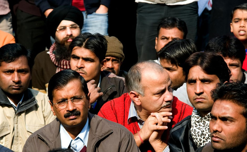 Arvind Kejriwal and Manish Sisodia of the Aam Aadmi Party are also present in the protests in Jantar Mantar. Naresh Sharma/Firstpost