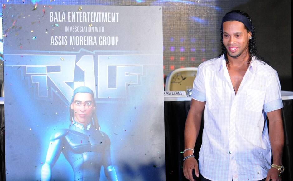 Football star Ronaldinho in Pune to promote his upcoming animation movie called 'R-10 The Movie'. Sachin Gokhale/Firstpost.