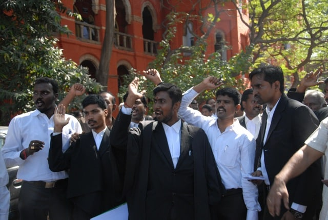 Lawyers protesting at Madras High Court. Firstpost