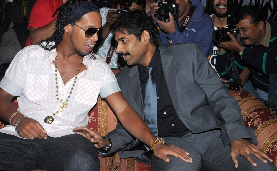 Ronaldinho with Ventakesh Rao, who also owns the English FA outfit, Blackburn Rovers. Sachin Gokhale/Firstpost.