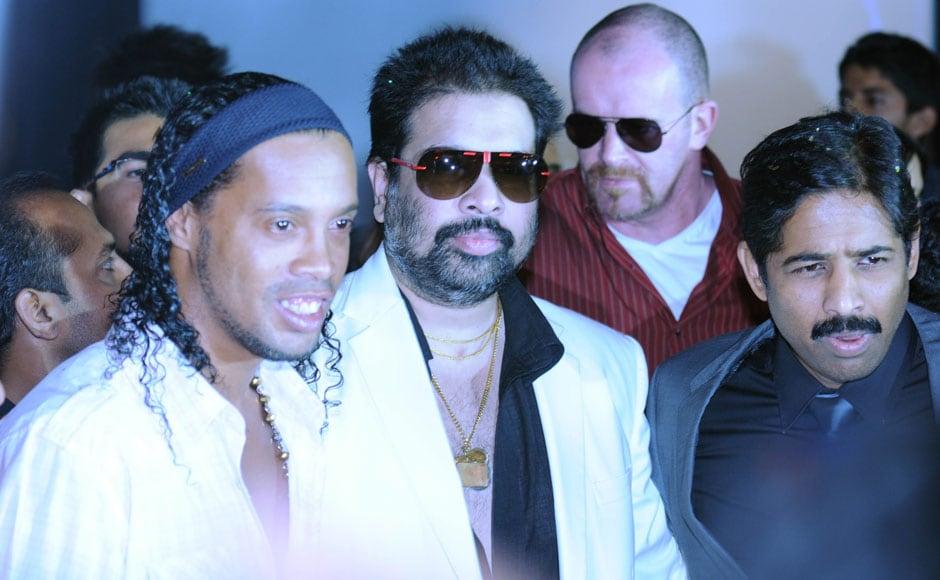 Ronaldinho with Balaji Rao and Venkatesh Rao, the producers of the movie. Sachin Gokhale/ Firstpost.
