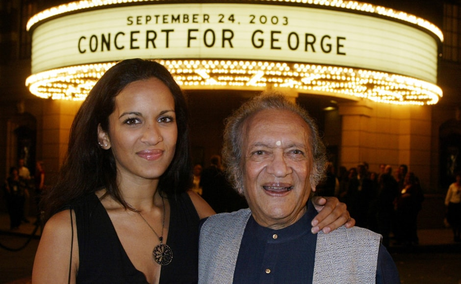 """Musician Ravi Shankar (R) and daughter Anoushka Shankar arrive for a screening of """"Concert for George"""", a new documentary film celebrating the music of George Harrison. Reuters"""