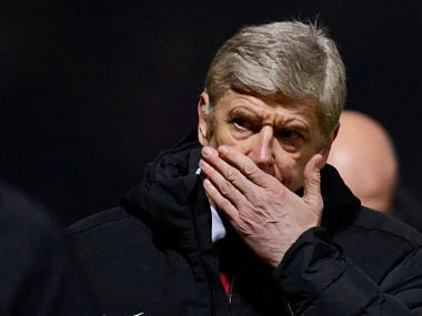 Arsenal's coach Wenger reacts during their English League Cup soccer match against Bradford City in Bradford. Reuters