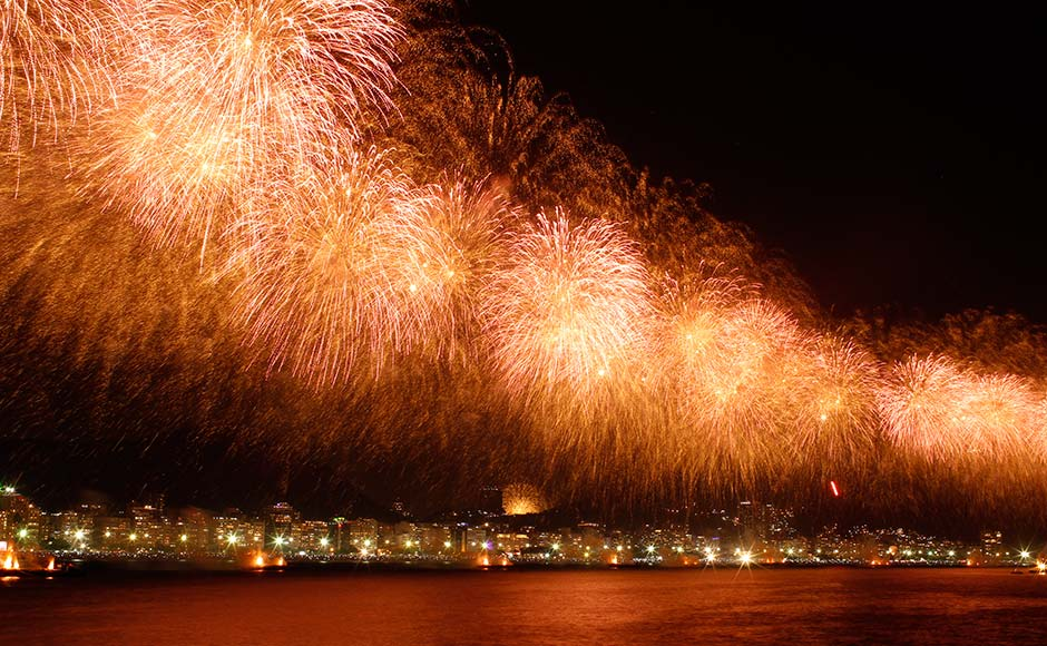 Fireworks explode above Copacabana beach in Rio de Janeiro January 1, 2013. More than two million people gathered along Rio's most famous beach to witness the 20-minute display and celebrate the beginning of a new year.Pilar Olivares/Reuters