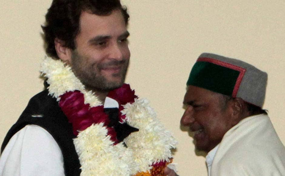 Rahul Gandhi with Defence Minister A K Antony after he was appointed as Vice President of the Congress party in Jaipur. PTI