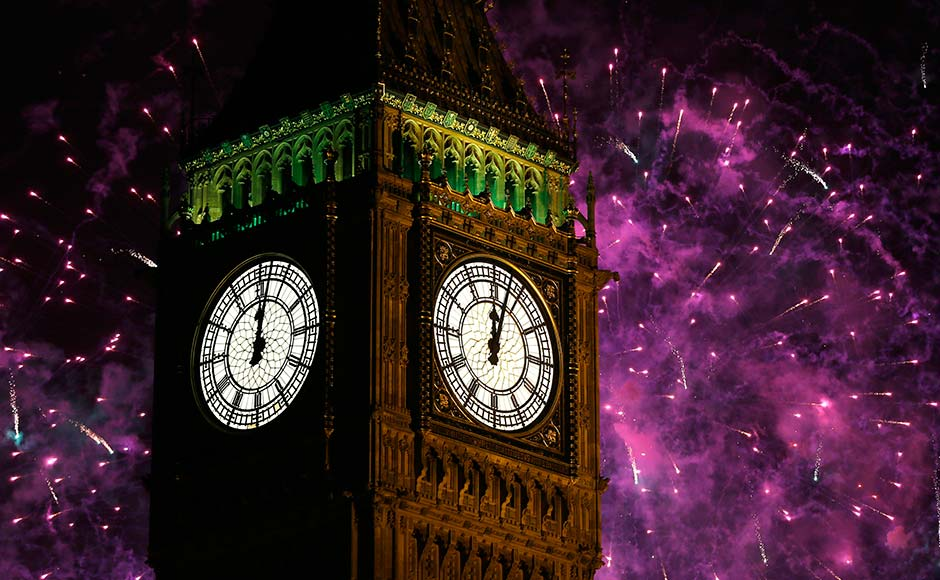 Fireworks explode over Elizabeth Tower housing the Big Ben clock to celebrate the New Year in London.Kirsty Wigglesworth/AP