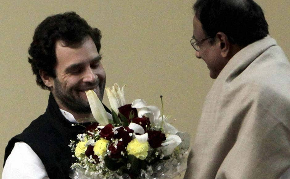Rahul Gandhi being greeted by Finance Minister P Chidambaram after he was appointed as Vice President of the Congress party in Jaipur. PTI