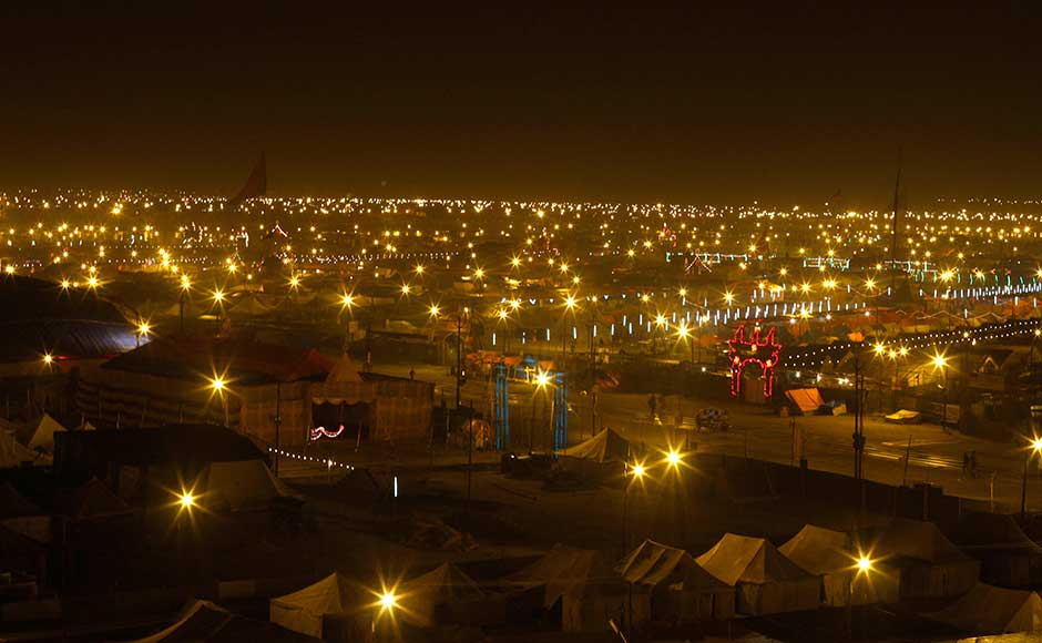 A view of the camp and festival ground at Sangam, the confluence of the rivers Ganges, Yamuna and mythical Saraswati, ahead of the Maha Kumbh festival in Allahabad. Rajesh Kumar Singh/AP
