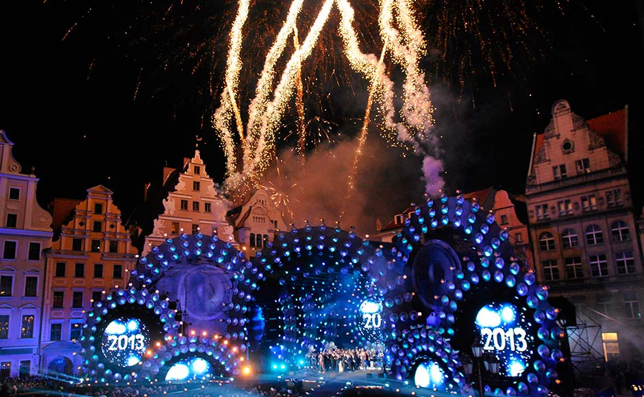 Fireworks explode across the skyline at the Wroclaw Market Square during New Year celebrations in Wroclaw .Reuters