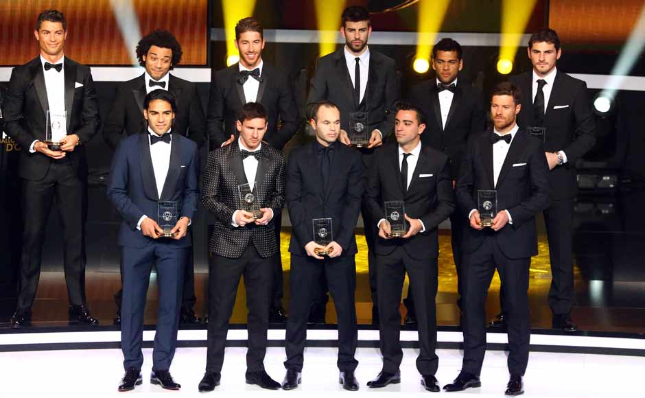 The FIFPro team of the year. Top (L to R): Ronaldo, Marcelo, Sergio Ramos, Gerard Pique, Dani Alves, Iker Casillas. Bottom (L to R): Radamel Falcao, Messi, Iniesta, Xavi, Xabi Alonso. Getty Images