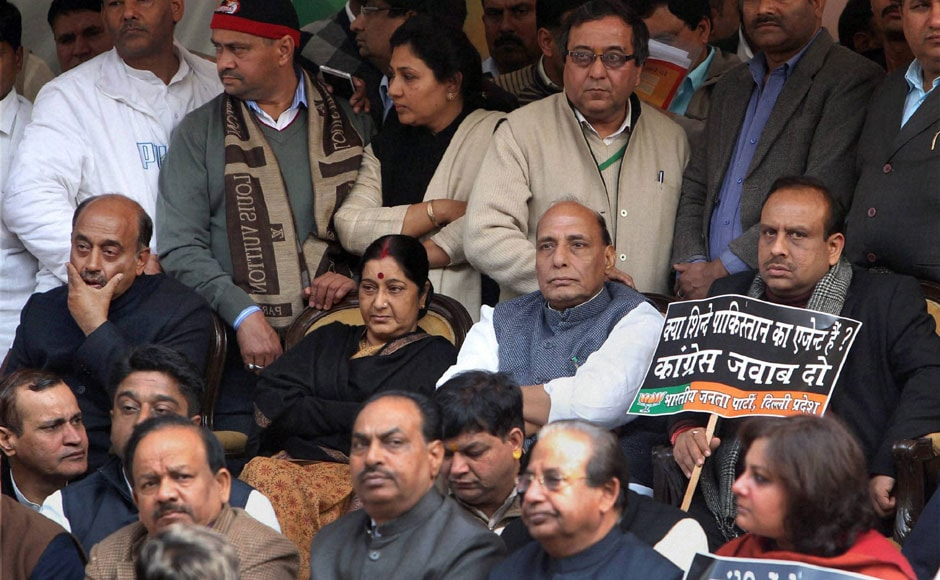 BJP leaders Sushma Swaraj and Rajnath Singh at the venue of the protest against Home Minister Sushilkumar Shinde. PTI
