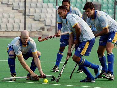 The Punjab Warriors during a practice session for HIL. PTI