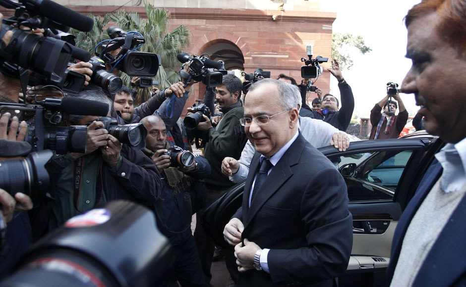 Pakistan High Commissioner to India Salman Bashir arrives at the Indian External Affairs Ministry in New Delhi on Wednesday. AP
