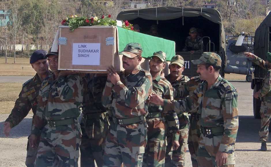 The bodies of the two soldiers who died in the attack was first brought to Rajouri and then to New Delhi. AP