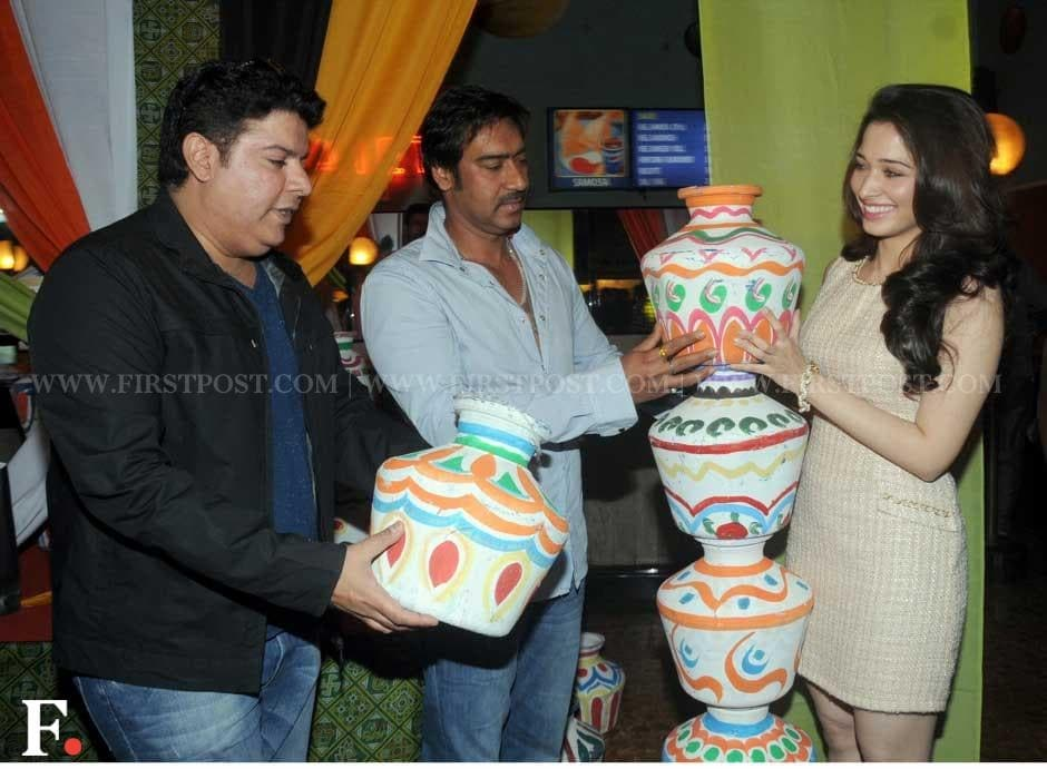 Filmmaker Sajid Khan, Ajay Devgn and Tamil actress Tamannaah. Sachin Gokhale/Firstpost