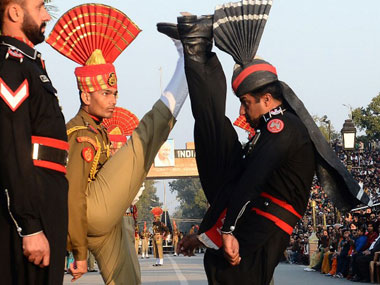 A file photo of the ceremonial exchange of flags at Wagah Border. AFP
