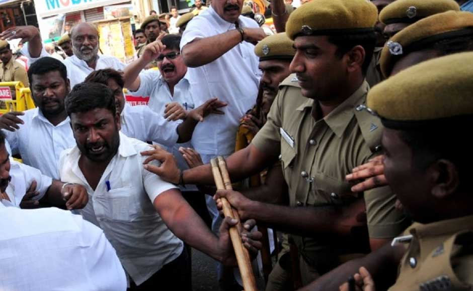Police attempt to control the group of protesters in Chennai. Firstpost